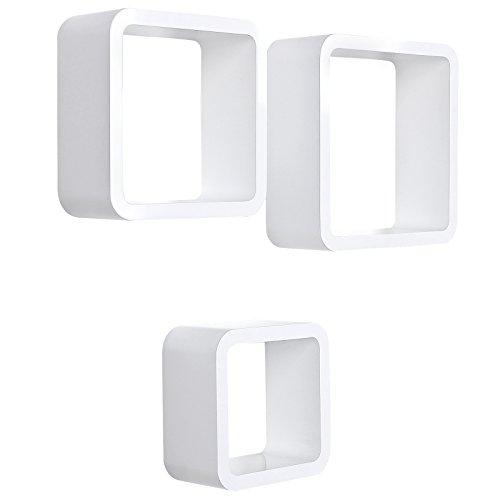Songmics Juego de 3 estantes para libros CDs Estanterías de pared Cubos retro blanco LWS104