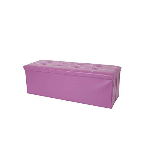 Rebecca mobili pouf baule finta pelle, seduta contenitore viola, foderato finta pelle - misure 38 x 110 x 38 cm (hxlxp) - art. re4913