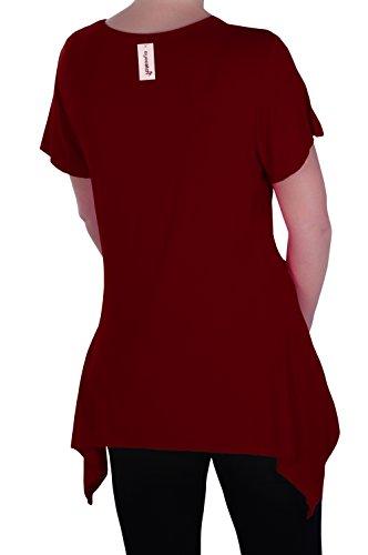 EyeCatch Plus - Haut manches courtes asymétrique stretch - Solange - Femme - Plusieurs Tailles et Couleurs Du Vin