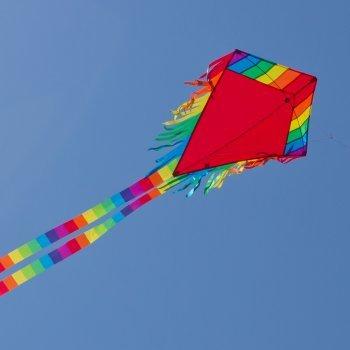 CIM Kinder-Drachen - Maya Eddy RED - Einleiner-Flugdrachen für Kinder ab 3 Jahren - 65x74cm - inkl. 80m Drachenschnur und 2x250cm Streifenschwänze