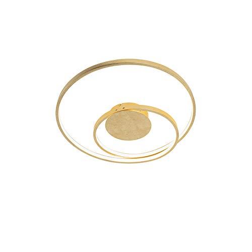 QAZQA Design/Retro Art Deco Deckenleuchte/Deckenlampe/Lampe/Leuchte Gold/Messing dimmbar inkl. LED - Rowan/Innenbeleuchtung/Wohnzimmerlampe/Küche Aluminium Rund / (nicht austauschbare) -