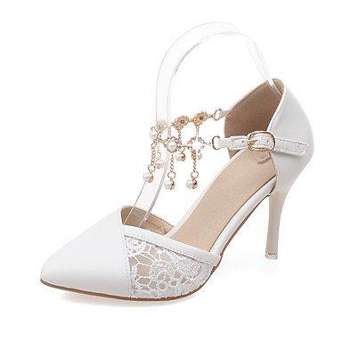 LvYuan Sandali-Matrimonio Ufficio e lavoro Serata e festa-Comoda Cinturino alla caviglia-A stiletto-PU (Poliuretano)-Rosa Bianco Tessuto almond White