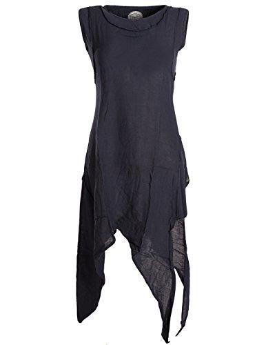 Vishes - Alternative Bekleidung - Asymmetrisches armloses Lagenlook Zipfelkleid schwarz 38-40