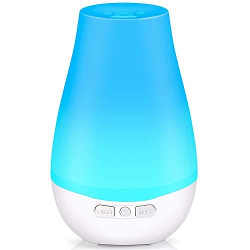 Aroma Diffuser Tenswall 180ml Öldiffusoren Luftbefeuchter mit 7 Farben-LED Duftzerstäuber, Ultraschall Duftzerstäuber für Zuhause, Yoga, SPA, das Büro oder Zuhause im Wohnzimmer oder Schlafzimmer