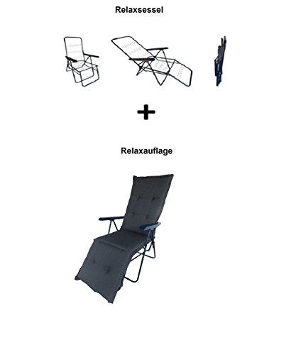 Balke Relaxsessel inklusive Auflage Fulda Rips 51 anthrazit, 5-Fach verstellbar, 170 x 50 x 6 cm