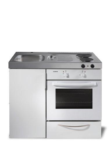 Kompaktküche Singleküche Mini-Küche Büroküche Kleinküche mit Backofen B100 cm