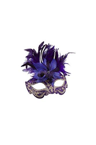 Jannes 34379 Deluxe Venezianische Maske mit Federn (Lila Maske Feder)