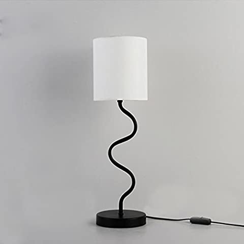 table lamp Modern simple iron fashion bedroom living room book house reading lights(Black + white)