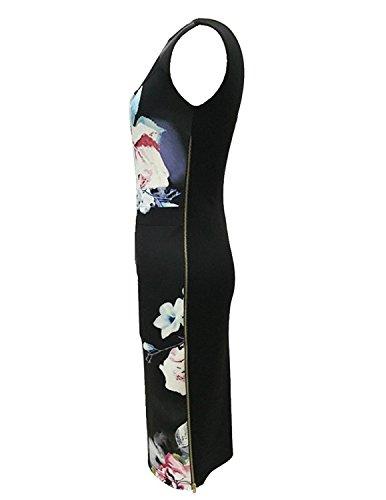 Sitengle Damen Kleider Elegant Festlich Printkleider Blumen Drucken Bunte Kleider hit Farbe Slim Ärmellose Abendkleid Casualkleider Rosa
