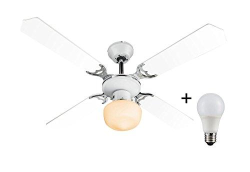 Deckenventilator mit Licht inkl. LED Leuchtmittel 8 Watt Zugschalter (Flügel zum Wenden, LED Deckenlampe, Deckenleuchte, Ventilator mit Beleuchtung, 107 cm) (Licht N/a Glas-ventilator)