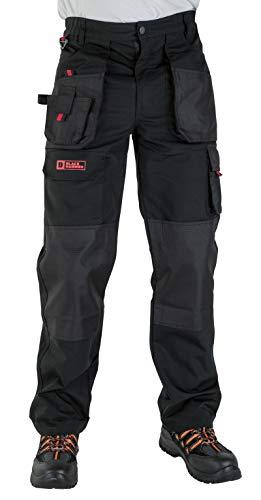 Pantalon de Travail Cargo pour Homme Multiples Poches Gamme Professionnelle Triple Couture Renforçant les Points de Tension et Poches Genouillères Encore Pantalon de Travail Adulte (44 Courtes,Noir)