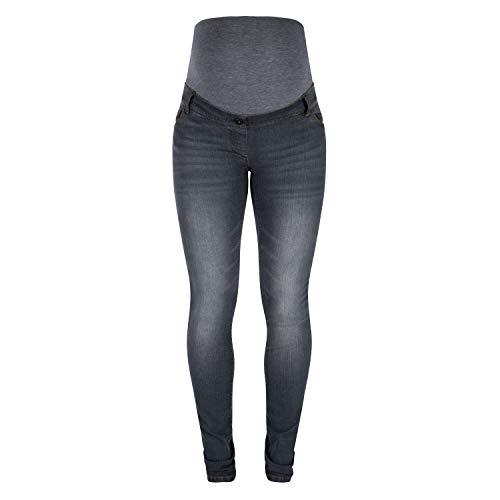 Love2Wait Damen 34-Inch Sophia Jeans, Grey Denim, 3XL - Pocket Maternity Jeans Boot Cut