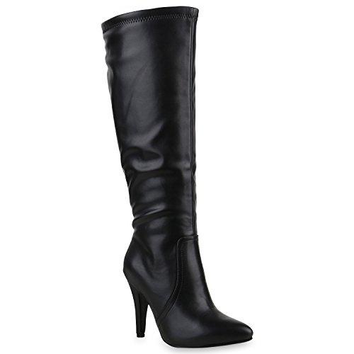 Elegante Damen Stiefel Stiletto High Heels Boots Schuhe 126049 Schwarz 38 | Flandell®