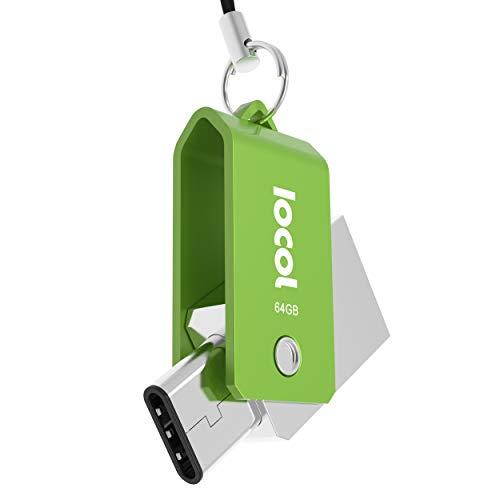 Iocol Twister USB C Stick 64GB Dual - 2 in 1 Funktion > Mini USB 3.0 & Type C < Wasserdicht & Klein - Swivel drehbar aus Metall Ideal für Schlüssel-Anhänger - 64 GB Flash Drive Speicherstick in Grün