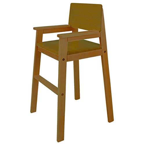 MADYES Kinderstuhl Hochstuhl Massivholz Buche Farbe Teak. Modernes Design. Treppenhochstuhl Buche für Esstisch, Kinderhochstuhl für Kinder, stabil & pflegeleicht viele Farben möglich