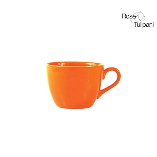 Rose e Tulipani r132300021 F & C Tasse à café avec Soucoupe, Lot de 6, Orange