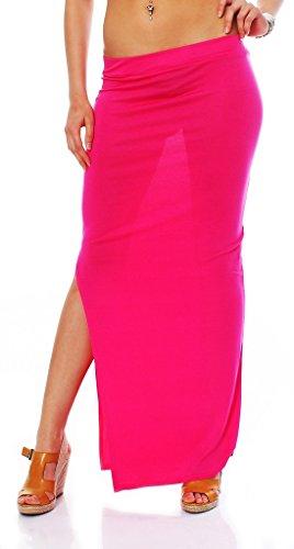 Fashion4Young 10527 maxirock matière stretch pour femme jupe jupe 14 coloris disponibles taille 34/36 Rose - Rose bonbon
