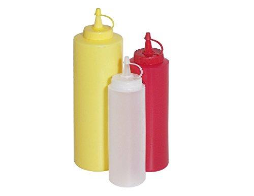 Quetschflasche aus Polyethylen, Schraubdeckel, unbedruckt, spülmaschinengeeignet, neutralweiß, rot oder gelb in 3 Größen | ERK (A6 - Inhalt: 0,70 ltr., rot) 3 Ramekin