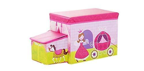 Amazinggirl - Sgabello Pieghevole con vano portaoggetti, Motivo a cubi e Coperchio, Princess Car, 55 x 26 x 31cm