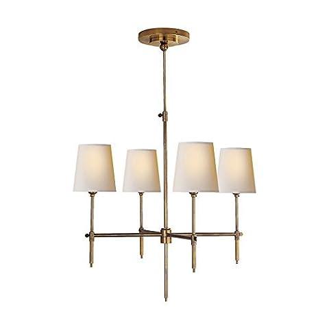 SaintMossi ELEGENT 4 Lichter 23 Zoll Bronze Kronleuchter Moderne Deckenleuchte im Stoff Schatten (Auswahl Innen Anhänger 1 Licht)