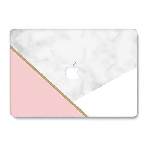 AQYLQ MacBook Schutzhülle/Hard Case Cover Laptop Hülle [Für MacBook Air 13 Zoll: A1369/A1466], Ultradünne Plastik Matt Gummierte Hartschale Schutzhülle, DL-56 Weißer & Rosa Marmor -