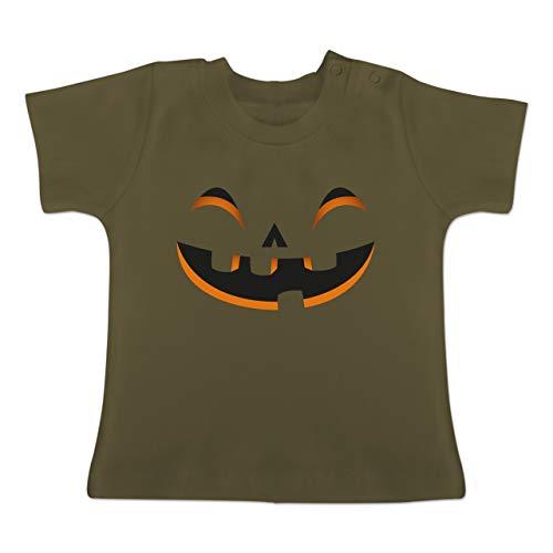 Karneval und Fasching Baby - Kürbisgesicht Kostüm - 18-24 Monate - Olivgrün - BZ02 - Baby T-Shirt Kurzarm (Die Halloween-kostüme Für Originelle 2019 Ideen)