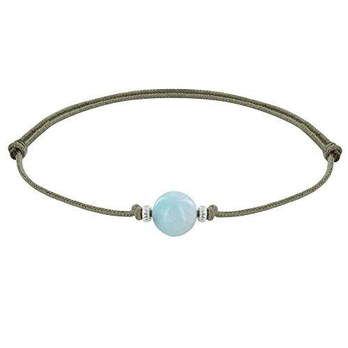 Schmuck Les Poulettes - Armband Synthetisch Link Larimar Perle und Zwei Silber Ringe - Beige
