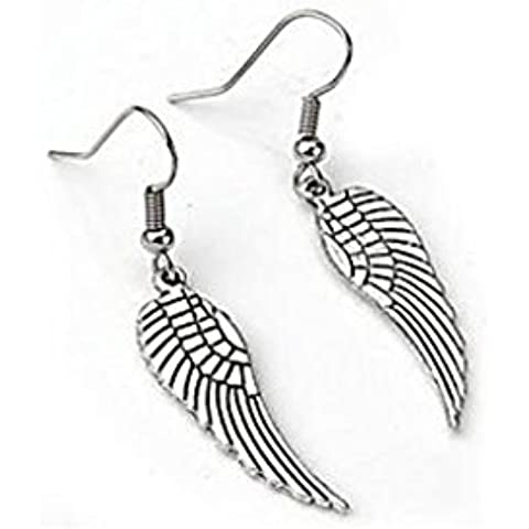 YKQJING Coppia angelo ala penzolare orecchini argento tibetano 1, 2