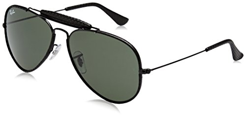 RAYBAN JUNIOR Herren Sonnenbrille Outdoorsman Craft, Leather Black/Green, 58