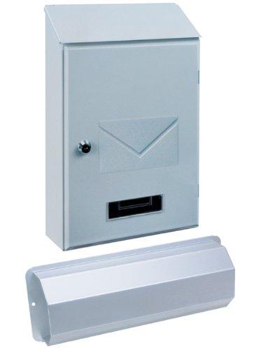 Rottner Stahl-Briefkasten Torino Set mit Zeitungsbox weiß T03032