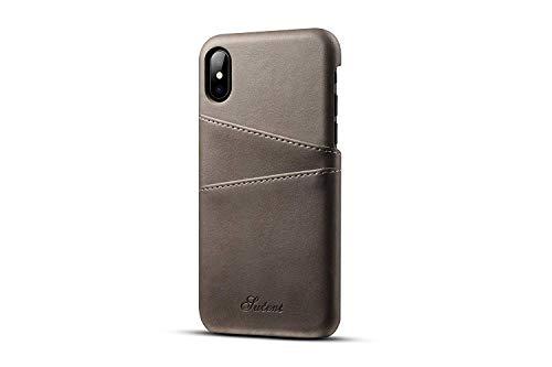 iPhone X Leder Case, tacoo Super Slim Soft Schutz Zwei Kreditkarte Slots Ultra Dünn Handy Back Cover für Apple iPhone 102017, Grau Samsung Super-slim
