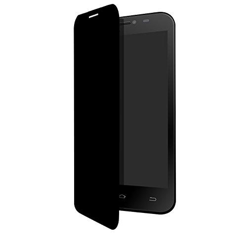Flip Cover per Smartphone Komu Robo 2L e 2X in silicone ed ecopelle STAND nera