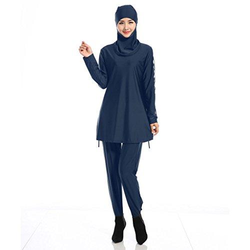 Haorw Muslimischen Badeanzug - Muslim Islamischen Modest Swimwear Burkini für Muslimische Frauen - Hijab Abnehmbaren (M, Blau) - 2