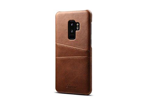 Galaxy S9Plus Leder Fall, tacoo Super Slim Fit Weich PU Schutz Zwei Kreditkarte Slots Ultra Dünn Handy Back Cover für Samsung Galaxy S9Plus 2018, braun