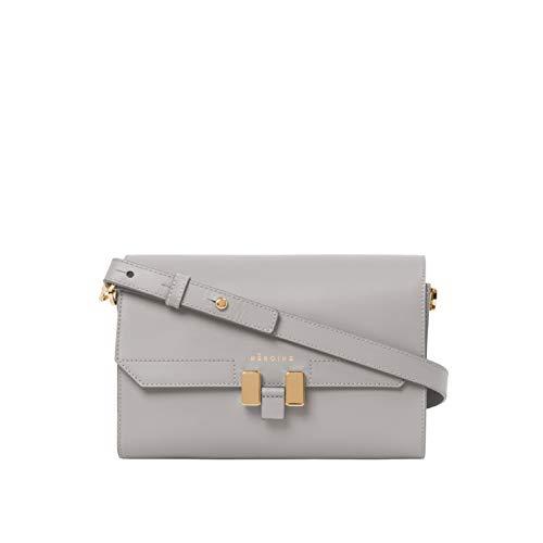 Maison Héroïne Lilia Crossbody Tablet Mini | Grau/Pastello Rosé | Handtasche | Damen | Clutch | Umhängetasche | Leder | Schultertasche | Gepolstertes Tablet Mini Fach -