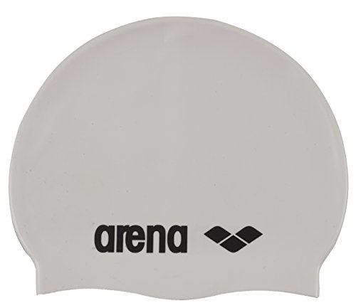 arena Unisex Badekappe Classic Silikon (Verstärkter Rand, Weniger Verrutschen der Kappe, Weich), White-Black (15), One Size (Silikon Badekappe Für Frauen)