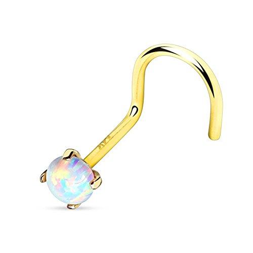Paula & Fritz® Unisex clip per il naso in oro vero oro giallo 14kt. Oro bianco con rialzo rotondo opale, colore: bianco, cod. GDQ-15_YGD