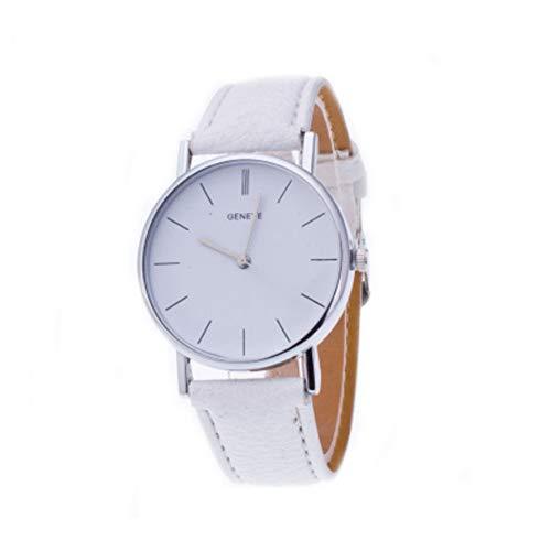 Orologio da polso al quarzo, 1 pezzo, analogico, casual, alla moda, unisex, ultra sottile, elegante, quadrante con marca Geneve, colore: bianco