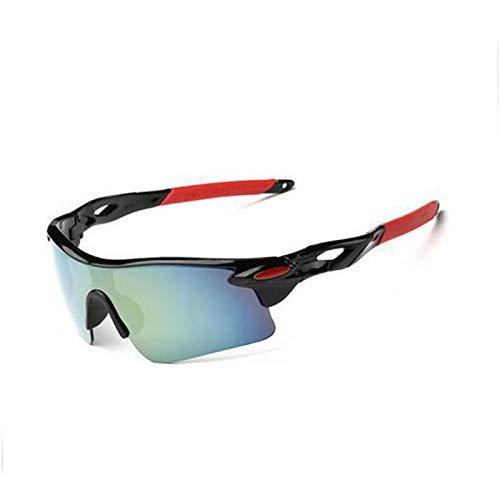 Outtybrave Fahrrad-Sonnenbrille polarisierte Sportsonnenbrille Outdoor Schutz UV-Schutz Winddichte Sonnenbrille, Black Frame red Leg Gold Mercury, 147mm
