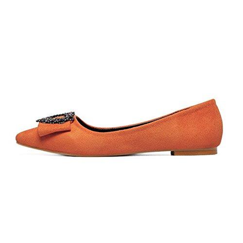 AalarDom Damen Spitz Zehe Ziehen Auf BlendMaterialien Pumps Schuhe  OrangeDiamanten