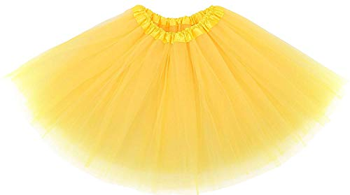 Ruiuzi Damen Tütü Rock Minirock 4 Lagen Petticoat Tanzkleid Dehnbaren Mini Skater Tutu Rock Erwachsene Ballettrock Tüllrock für Party Halloween Kostüme Tanzen (Gelb) (Tanzen Kostüm Frauen)