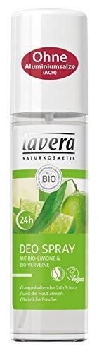 lavera Deospray Bio Limone 24h ∙ Belebender Duft ∙ 24 Stunden Deo Schutz ∙ Deodorant ohne Aluminium ∙ vegan ✔ Bio Pflanzenwirkstoffe ✔ Naturkosmetik ✔ Natural ✔ Körperpflege 2er Pack (2x75ml)