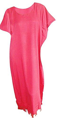 Cool Kaftans PLAIN Kaftan Kaftan Kleid Robe XXL Free Size Plus-Lush Ladies Beach Fringes Quasten (Red Rot) - Womens Quaste