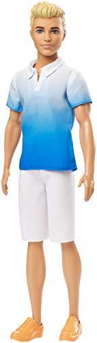 Barbie GDV12 - Ken Fashionistas Puppe im weiß-blauen Poloshirt, Puppen Spielzeug ab 3 Jahren (Ken Barbie Puppe Fashionista)