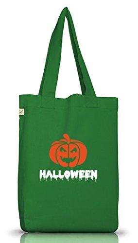Shirtstreet24, Halloween - Kürbis, Grusel Kostüm Jutebeutel Stoff Tasche Earth Positive Moss Green