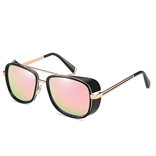 K-Flame Steampunk-Stil Unisex Square Matel Frame Brillen Iron Man Sonnenbrillen UV400 Schutz polarisierte Schutzbrille für Männer und Frauen Reisen,GoldPink,148mm