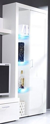 Regal SAMBA Standregal mit Türen, Hochglanz, mit LED Beleuchtung (Weiß / Weiß Hochglanz)