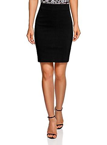 oodji Ultra Women's Knee Length Bodycon Pencil Skirt, Black, UK