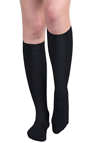 4448bc3c96a MD Medical Quality Microfiber Opaque Graduated Compression Socks 15-20mmHg Firm  Pressure Knee High Support
