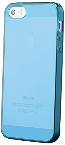 iCues Apple iPhone SE / 5S / 5 |  Transparent TPU Case Rosa | [Display Schutzfolie Inklusive] Transparent Klarsichthülle Durchsichtig Klare Klarsicht Silikon Gel Schutzhülle Hülle Cover Schutz Light Blue